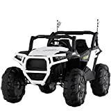Uenjoy 12V Electric Ride on Cars, Realistic Off-Road UTV, Two Seater Ride On Truck, Motorized Vehicles for Kids, Remote Control, Music, 3 Speeds, Spring Suspension, LED Light (White)