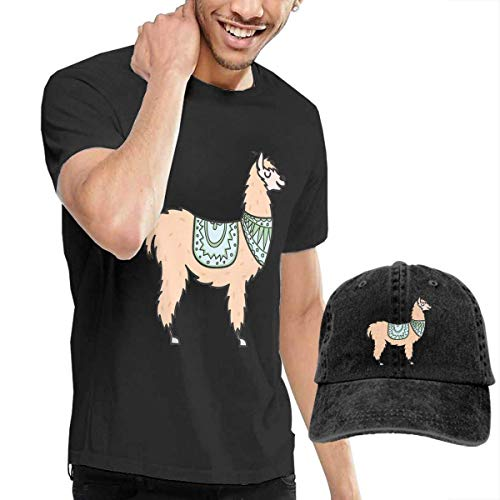 Kalinanai Camisetas, Tee's, Peru Animal Alpaca Men's Cotton Camiseta con Cuello Redondo con Gorra de béisbol Ajustable