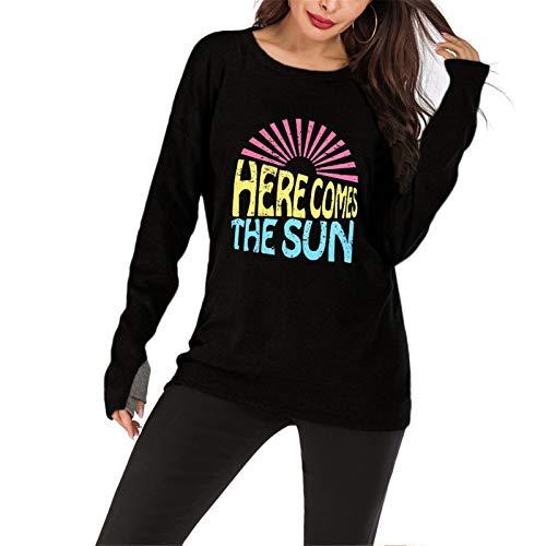 Gyubay Camiseta de Mujer Ligera Otoño e Invierno impresión de protección Solar Damas Tops Sudaderas Camisetas Sudaderas Estilo de Moda (Color : Black, Size : XX-Large)