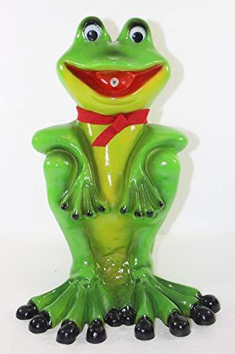 RAKSO Deko Garten Figur Gartenfigur Tierfigur Teichfigur Wasserspeier Frosch mit Schal sitzend aus Kunststoff Höhe 32 cm