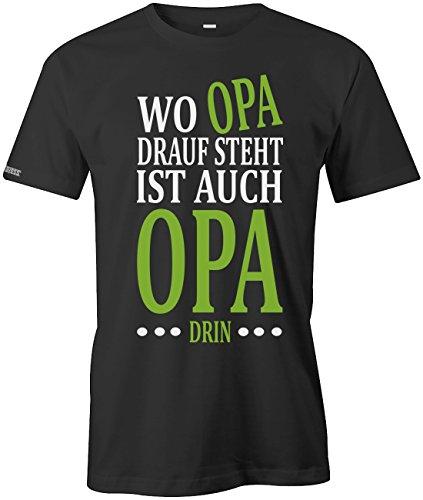 Jayess Wo Opa Drauf Steht ist auch Opa drin - Herren T-Shirt in Schwarz by Gr. XL