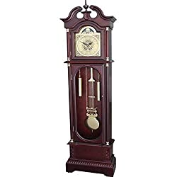 Grandfather Floor Clock Blue Moon Roman Numeral Wooden Long Case Tall Antique Cherry Oak Large Solid Wood Home Decor Free Standing Vintage Longcase Gold Pendulum Automatic Single Chime Quartz Glass Do