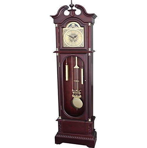 Grandfather Floor Clock Blue Moon Roman Numeral Wooden Long Case Tall...