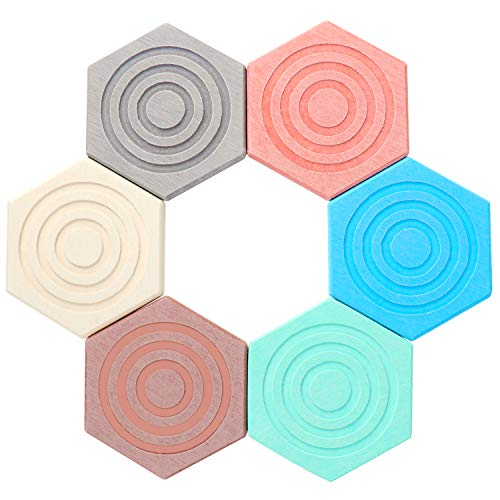 Coolty 6 sottobicchieri assorbenti per bevande a forma di esagono colorato per tazza di birra bottiglia di vetro e tavolo protettivo resistente al calore, diametro 10 cm
