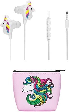 Kids Earbuds for Girls TMHH Unicorn Headphones with Cute Earphone Bag Microphone Volume Control product image