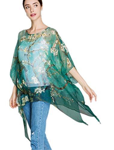 prettystern Damen Seiden-Tunika Chiffon Poncho Sommer Bluse Strand-Kleid Überwurf Van Gogh Mandelbaumzweige