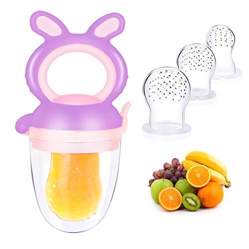 Oladwolf Chupete de Bebé, Chupete de Fruta Fresca con Reemplazo de Chupete de Silicona de 3 Frutas en 3 Tamaños, Mordedor de Bebé sin BPA Para Verduras Comida Para Bebés Comida Complementaria (Morado)