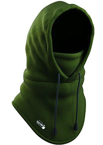 Self Pro Balaclava Fleece Hood - Windproof Ski Mask - Ultimate Thermal Retention & Moisture Wicking with Performance Soft Fleece Construction Army Green