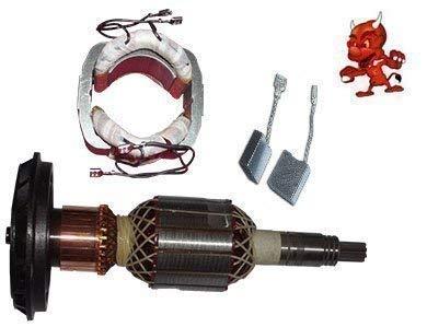 Reparaturset passend für Bosch GSH 11 E bestehend aus Anker Rotor Kollektor Läufer + Polschuh Feld Stator + 1 Satz Kohlebürsten