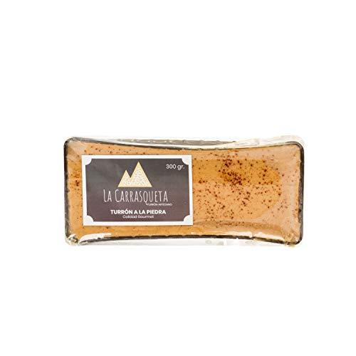 Turrón a la Piedra Artesano, 300g - Fórmula Tradicional Jijonenca - Apto para Veganos - Producto Gourmet - Perfecto para regalar - La Carrasqueta Turrón Artesano