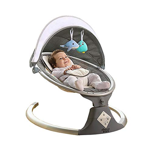MOZX Baby Bouncer, Baby Rocking Chair Electric with Breathable Cushions And Dolls, Infant Rocker with Removable Foldable Mosquito Net, Five-Speed Adjustment, Intelligent Timing (15, 30, 45),Gray