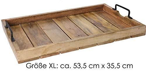 Mayfield Living Landhaus Mango Dekotablett Holz-Tablett Serviertablett XL 53,5 cm x 35,5 cm