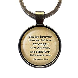Image: Winnie the Pooh Christopher Robin | You are braver than you believe, stronger than you seem, and smarter than you think | Bronze Keychain Keyring
