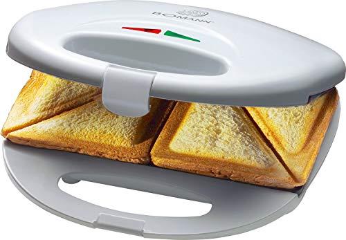 Bomann ST 5016 CB Sandwichera para 2 sandwiches, antiadherente, 750 W, Plástico, Blanco