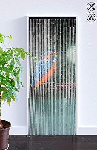 ABC Home Living   Bambusvorhang Eisvogel  Türvorhang  Bambustürvorhang  65 Stränge  Insektenschutz  Fliegenschutz  Raumteiler, Bambus, Mehrfarbig, 90 x 200 cm