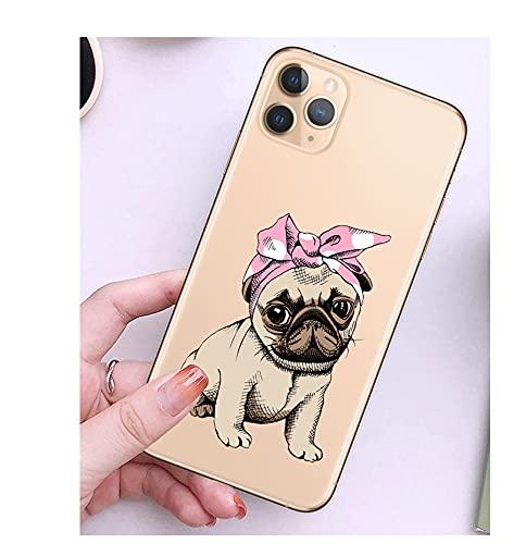 Pug French Bulldog Funda de silicona suave transparente para iPhone XR X XS 11 Pro Max 8 7 6 6S Plus 5S SE 2020 Cover Cartoon Dog Cases-A1051-Para iPhone 7 8