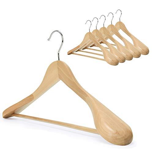 J.S. Hanger Kleiderbügel aus Holz, 6-Stuck, mit extra breiter Schulter, perfekt für Anzüge, Mäntel und Hosen, natürliche oberfläche