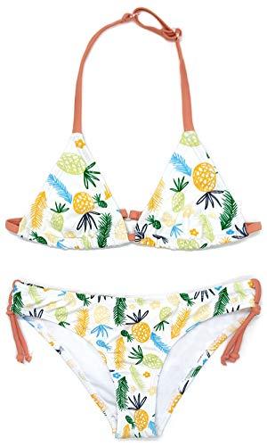 SHEKINI Mädchen Bikini Set Verstellbar Triangel Bikinioberteil Niedlich Gedruckt Strandmode Zweiteilige Mädchen Badebekleidung für 6-14 Jahre (12-14 Jahre, Ananas)