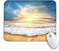 ROSECNY 可愛いマウスパッド カラフルなシーントロピカルイエローサンドビーチとブルースカイノンスリップラバーバッキングマウスパッド、ノートパソコン、マウスマット