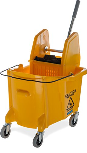 Carlisle 3690504 Commercial Mop Bucket with Down Press Wringer, 35 Quart Capacity, Yellow