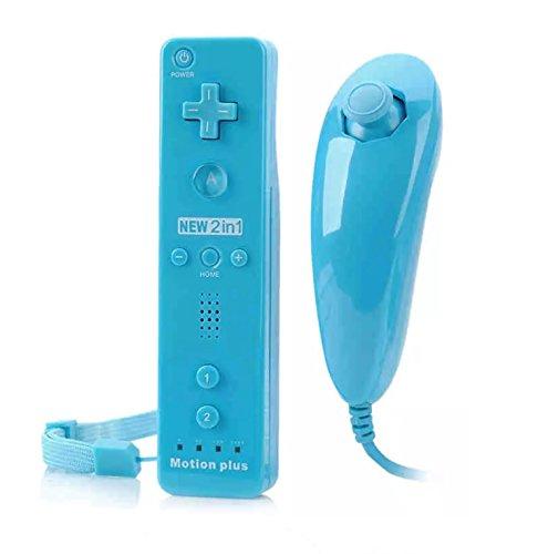 Télécommande Wiimote plus (Motion plus inclus) et Nunchuck pour Nintendo Wii et Wii U - Bleu