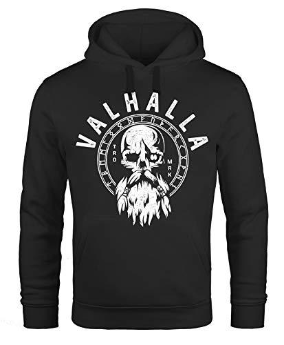 Neverless® Hoodie Herren Aufdruck Valhalla Totenkopf Odin Runen Wikinger Print Kapuzen-Pullover Fashion schwarz XXL