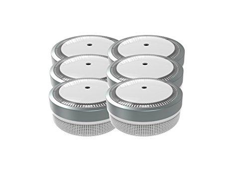 Jeising Mini Rauchmelder 6er Set - RWM100-Grau 10 Jahre Lithium Batterie - VDs geprüft