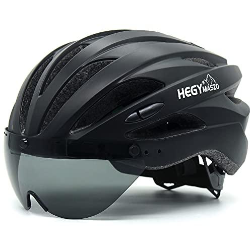 Fahrradhelm Rennrad, MTB Fahrradhelm mit Abnehmbarer Brille und Visier, Verstellbarer Leichter Fahrradhelm für Erwachsene Herren Damen Kinder (Schwarz)