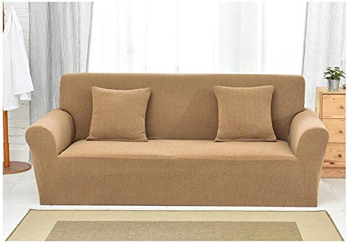 Funda de sofá Elastica,Knitted Check Stretch Sofa Cover, Full Cover Non-Slip Cushion Cover, Home Anti-fouling Protective Cover-Light Brown_190-230cm