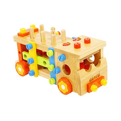 AIBAB Demontage Werkzeugwagen Kinder Pädagogische Früherziehung Hölzerne Demontage Montage Mutter Kombination Spielzeug Freie Montage Gummi Holz