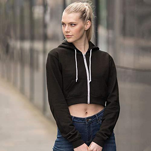 Awdis Just Hoods Womens/Ladies Girlie Cropped Full Zip Hoodie Jacket (L) (Jet Black)