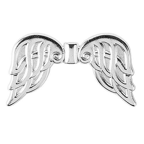 Ali d'angelo in filigrana, argento | Spacer, perle intermedie tibetane | Ciondolo angelo di perle, angelo custode, ciondolo a forma di ali d'angelo | gioielli fai da te (design 6B, 3,7 cm – 10 pezzi)