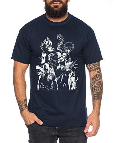 Heroes One Manga Camiseta de Hombre Anime Piece, Farbe2:Azul Oscuro, Größe2:XX-Large