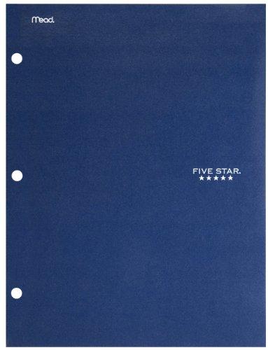 Five Star 4 Pocket Folder, 2 Pocket Folder Plus 2 Additional Pockets, Navy (72099)