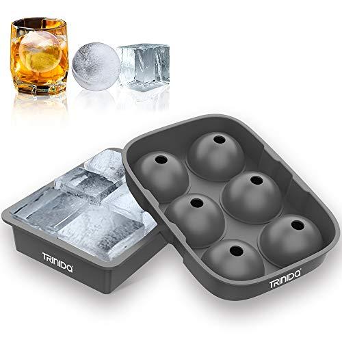 TRINIDa Eiswürfelform Eiswürfelschalen Silikon 2 Stück, Eiswürfelbehälter mit Deckel für Cocktails Whisky Eiswürfelbereiter Wiederverwendbar BPA-frei