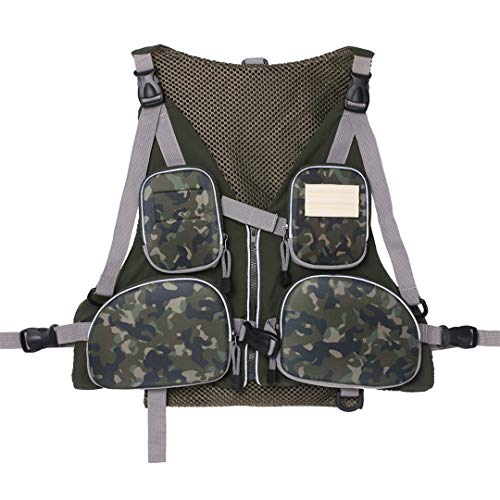 Heroudsty Men's Fly Fishing Vest Adjustable Size Multiple Pockets Bass Fishing Mesh Backpack for Men and Women Camo