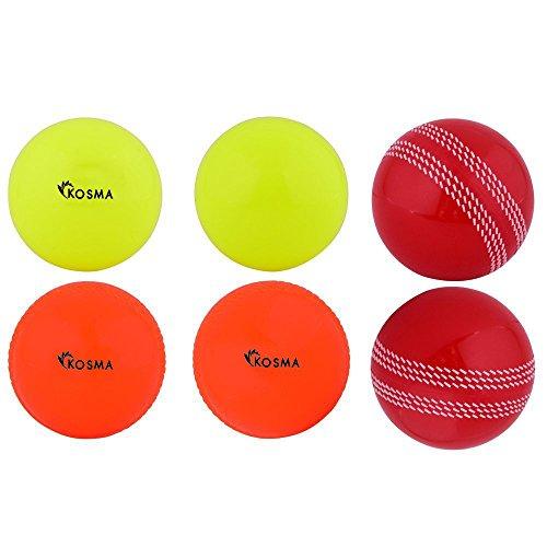 Kosma 6 Windball Cricket Ball - (2 PC-Gelb, 2 Pc rot mit weißer Naht, 2 PC-Orange)