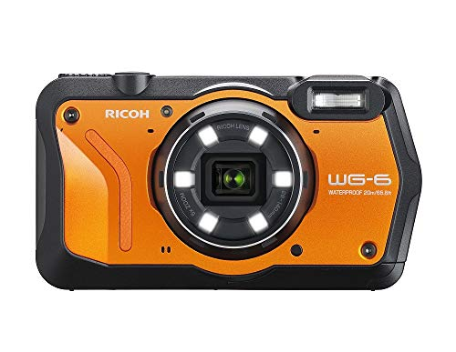 RICOH WG-6 oranje waterdichte camera met hoge resolutie foto's met 20 MP 3 inch LCD waterdicht tot 20 m schokbestendig tot een valhoogte van 2,1 m onderwatermodus ring met 6 LED's voor macroopnames