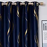 1 Pair Blackout Curtains for Bedroom, Luxury Striped Curtains for Living Room (Navy and Gold, 2 x 54 x 84 Inch)