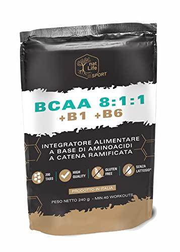 BCAA 811, 200 COMPRESSE Aminoacidi a Catena Ramificata con vitamine B1 e B6 Prodotto in ITALIA , SENZA LATTOSIO E GLUTINE, PACK GREEN LIGHT RICHIUDIBILE, PREZZO PROMO