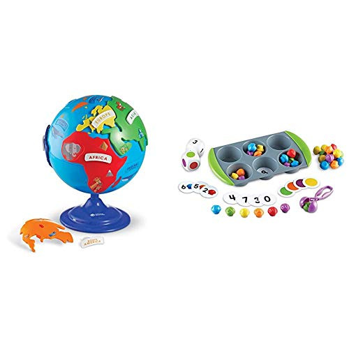 Learning Resources Puzzle Globe, 3-D Geography Puzzle, Fine Motor, 14 Pieces, Ages 3+ & Mini Muffin Match Up Counting Toy Set, Homeschool, Fine Motor, 76 Pieces, Ages 3+,Multi-Color,10 x 5-3/4 in