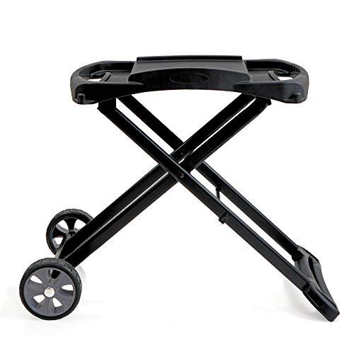 BBQ-Toro Tragbarer Tisch Gasgrill 2 Brenner mit Grilltisch | kompakter Tischgasgrill für Balkon inklusive faltbarem Rollwagen für Grill | Gasgrill Camping und Outdoor (nur Grilltisch)