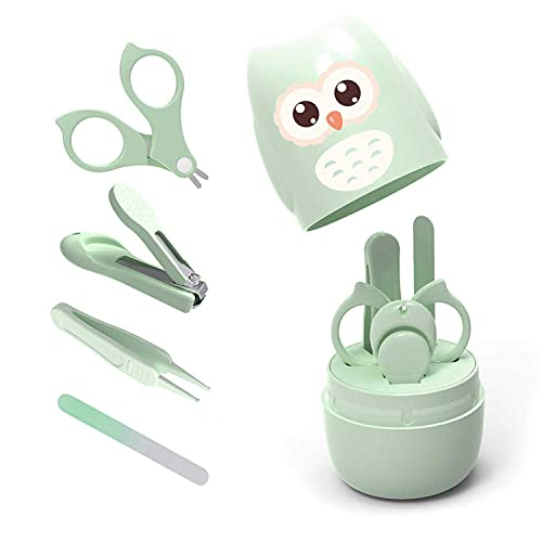 Baby-Nagelset, 4-in-1-Baby-Nagelpflege-Set mit niedlichem Etui, Baby-Nagelknipser, Schere, Nagelfeile & Pinzette, Baby-Maniküre-Set und Pediküre-Set für Neugeborene, Säuglinge, Kleinkinder, Grün