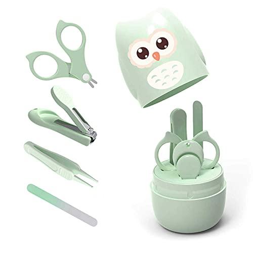 Kit de manicura para bebé, 4 en 1, incluye estuche, cortaúñas de bebé, tijeras, lima de uñas y pinzas, juego de manicura y pedicura para recién nacidos, bebés y niños pequeños, color verde