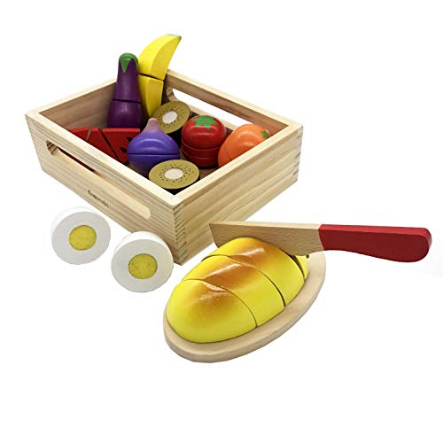 KOMOREBI Play & Cut Food Wooden Preschool Toys Pretend Play Kitchen Set Early Educational Development Toys for 2,3,4,5,6 Year Old Kids Learning Color Fruit and Vegetable Toy Gift for Toddlers