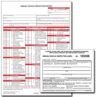 """Annual Vehicle Inspection Report and Label – 10 Units - AVIR 3-Ply, Carbonless, Snap-Out Format, 8.5"""" x 11.75"""" – Label 2-Ply Vinyl with Mylar Laminate, 5"""" x 4"""" - J. J. Keller & Associates"""