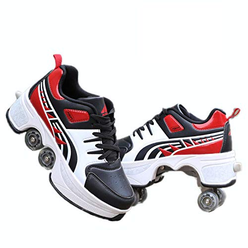 ZCXBHD 2-in-1Multifunktionale Deformations-Rollschuhschuhe , Verstellbare Quad-Rollschuhstiefel Geeignet Für Skaten Party Disco Tanz Geburtstag,Red-36