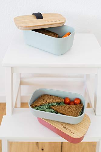 Kindsgut Kleine Brotdose mit Deckel aus Bambus, Brotbox mit Gummiband, ideal für den Kindergarten und unterwegs, 700ml, Aquamarin