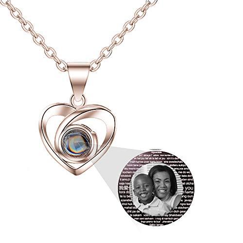 hjsadgasd Foto Personalizzata I Love You Collana Collana in Oro Rosa 925 con Linguetta 100 Lingue