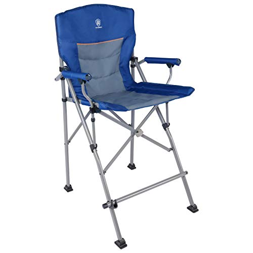 EVER ADVANCED Tall Folding Chair, Portable Camping Chair for Outdoors with Carry Bag, Heavy Duty Supports 300lbs